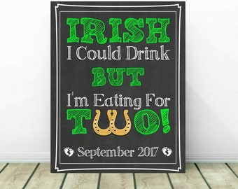 St. Patrick's Day Pregnancy Announcement, St Patrick Reveal, St Patrick Pregnancy Sign, March Pregnancy Reveal, Irish I Could Drink