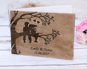 Wedding Tree Guest Book Rustic Wooden Guestbook Personalized weeding Rustic Vows Book Mr Mrs Advice Book Burlap Pen