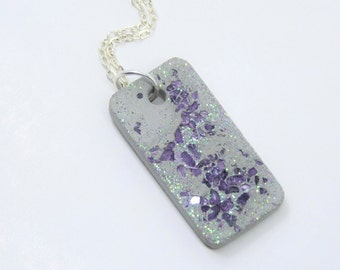 Necklace glass concrete - violet - gift --