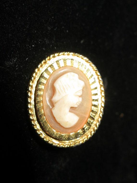 Beautiful petite vintage  goldtone resin cameo  lady brooch