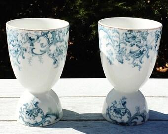 Vintage Egg Holders, Egg Cups, Blue on White Footed Porcelain, Gold Trim