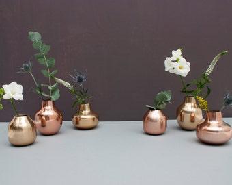 Metal Bud Vase Trio - Copper