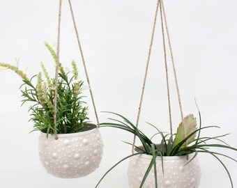 Enamel Hanging Planter, Cream