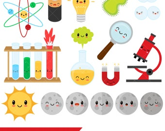 Kawaii Science Clipart / Lab Clip Art / Scientist/ Chemistry / Biology / Physics