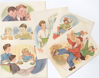 National Dairy Council Set of Six Childrens Prints