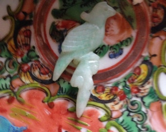 Qing (Ch'ing) Dynasty Chinese Antique Apple Green Jade Jadeite Figurative Court Robe Ornament Beautifully Hand-Carved in Shape of Parrot