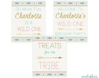 Wild One First Birthday Sign, Tribal, Party Signs, Boho Party Decor, Welcome Sign, Treats for the Tribe, Printable, Boy or Girl Colors