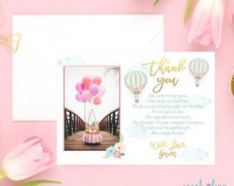 Birthday Thank You Card, Hot Air Balloon Party, Balloon Photo Thank You, Printable, First Birthday, Blue Pink, Up and Away, Places She'll Go