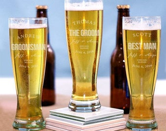 Engraved Groomsmen Pilsner Glass - 16 oz. Etched Groom's Beer Glass - Personalized Groomsmen Gifts - Gifts for Him - Engraved Beer Glass -