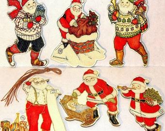 6 Vintage Santa Christmas Ornament s By Artist Mary Lillemoe MINT/FACTORY SEALED Rare Merrimack Publishing Co