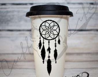 Dreamcatcher Travel Coffee Mug / Boho Coffee Mug / Dream Catcher Coffee Mug / Gypsy Coffee Mug / Designer Coffee Mug / Stocking Stuffer