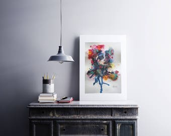 Watercolor Painting, Watercolor Print, Wall Art, Art Print, Colourful Abstract Art Portrait, Mixed Media Unframed Print Quality Canvas Paper