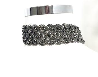 Black Crystal Choker, Black Necklace, Choker Jewelry