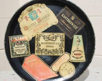 Vintage Liquor Label Theme Serving Tray Bar Wall Decor