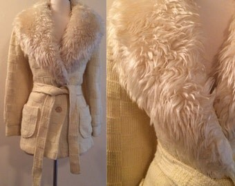 Vintage 1970s Sears Fashions White Faux Shearling Fur Checker Board Knit Sweater Cardigan in Cream Wool