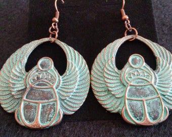 Egyptian Winged Scarab Earrings