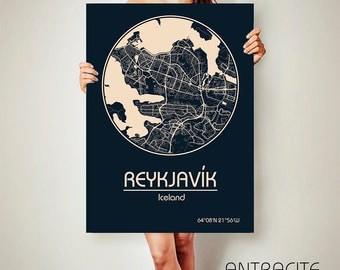 Reykjavík Iceland CANVAS Map Reykjavík Iceland Poster City Map Reykjavík Iceland Art Print Reykjavík Iceland