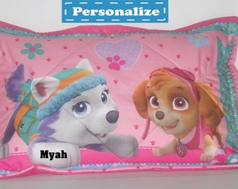 Personalized PAW Patrol Girl 'Best Pup' Theme Quilted Standard Size Pillow Sham
