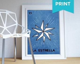 Loteria La Estrella Mexican Retro Illustration Large Poster Art Print Vintage Giclee on Satin or Cotton Canvas Poster Wall Decor