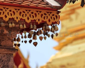 Buddha Photography, Bells Decoration in Buddhist Golden Temple, Thailand, Asia Art, Travel Photography, Fine Art Photography, Wall Art Print