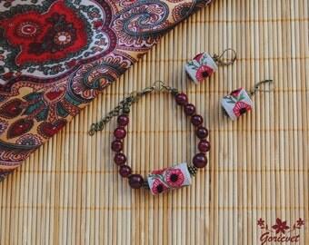 poppy flower jewelry set bracelet earring set gift for women ethnic jewelry embroidered jewelry fabric earrings dangle earrings red bracelet