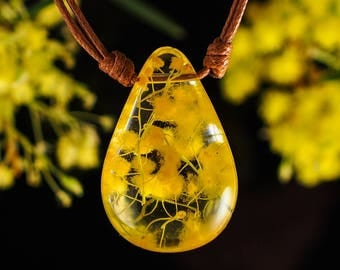 Mimosa in Clear Resin; Australian Acacia flowers in Resin Pendant, Resin Jewelry