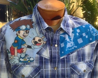"Digimon Men's Shirt By Maria B. Vintage Western Shirt & Vintage Digimon Pokemon Fabric ""BADDER BLAST"". Size XL."
