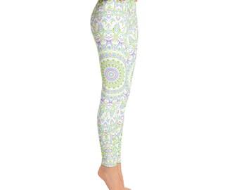 Mid Rise Spring Yoga Leggings - Cute Printed Leggings, Yoga Pants Womens Pattern Leggings Tights