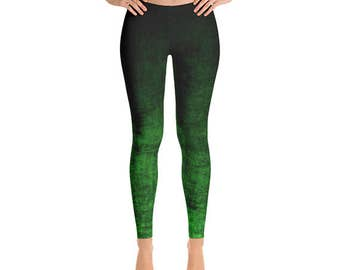 Green Ombre Leggings - Grunge Green and Black Leggings, Ombre Tights, Yoga Leggings, Yoga Pants, Stretch Pants