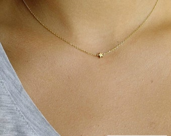 Tiny Star / Necklace / 925Silver / Chain / Hematite Star / Gold Plted / Wired / Minimal / Jewelry / Women's Gift Idea / Valentine's Day Gift