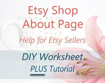 Etsy Shop About Page Help - DIY Brainstorming Worksheet & Tutorial. Shop Story Writing Help. Business Bio, Seller Guide, Etsy Tutorial