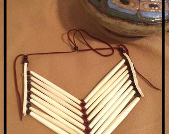 Breastplate Necklace, Native American Inspired, Tribal Breastplate, Red Horn and Bone Hairpipe Breastplate Necklace