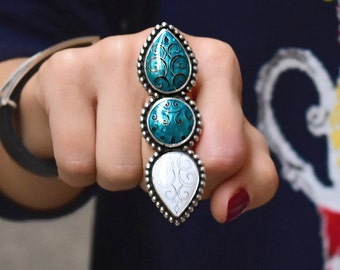 Cloisonne enamel Ring, sterling silver, Statement Ring