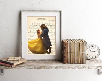 Beauty and the Beast Live Action Belle and Beast Sheet Music Art Print