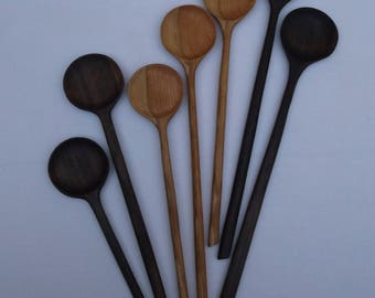 Wooden Long Handled Spoon in Black Walnut or Cherry