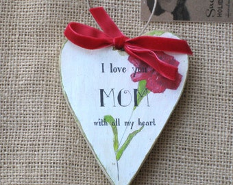 Wooden Heart Ornament, Personalized for Mom, Mother's Day Ornament, Red Carnation Ornament, Mothers Day, Mothers Day Gift,  Gift for Mom