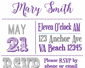 Printable Bridal Shower Invitation Clean and Simple Personalized