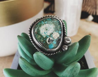 Natural Morenci with Pyrite Turquoise sterling silver ring
