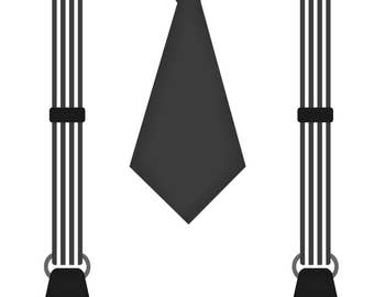 Suspender and Tie Iron on For Little Boys-Striped Suspenders and Tie Iron On Transfer-Boys Iron On Transfer-Black and White Iron On For Boys