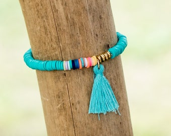Tassel Bracelet // Friendship Bracelet // Colorful Bracelet // Stretch Bracelet // Bracelet Friendship // Bracelet Tassel // Hippie Bracelet