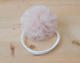 Pink Tulle Flower Headband, Pink Headband, Baby Headband, Tulle Headband, Headband