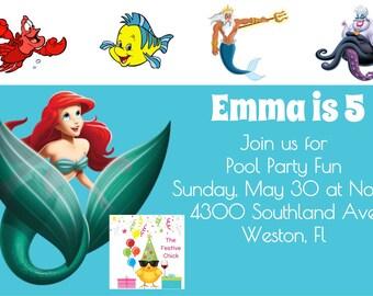The Little Mermaid invitations, Ariel, Flounder, Sebastian, invitations, mermaid, mermaid party, Little Mermaid theme, party invitations,
