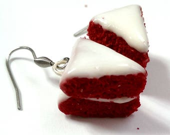 Red Velvet Cake Earrings Food jewelry, Food earrings, Miniature Food Charms, Pastry Earrings, cool earrings, Bakery Gift