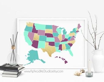 Usa Map Print Etsy - Us map poster printable