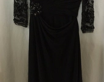 1960s Formal Black Evening Gown with Gorgeous See-Through Sleeves and Bugle Beading