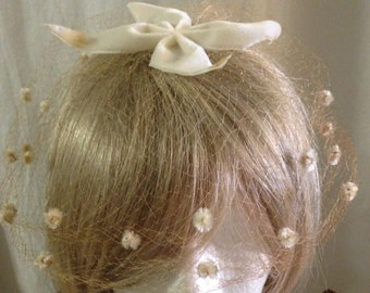 Vintage Veil with Little Velvet Flowers and Large Velvet Bow. Extremely Delicate. Perfect for the retro bride.
