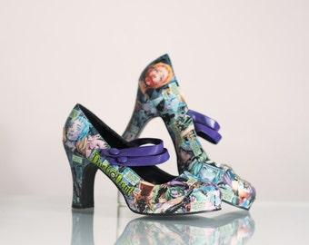 Duela Dent, Custom Made, Comic Book Heels, Comic Shoes, One of a Kind