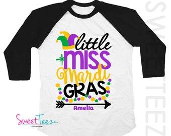 Mardi Gras  Shirt Little Miss Mardi Gras Girl Shirt black Raglan 3/4th Sleeve Shirt Personalized shirt Baby Toddler Youth Shirt