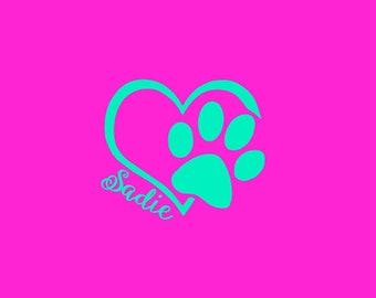 HEART DOG PAW Decal,  Dog Lover Sticker, Window Sticker, Paw Print, Name Sticker, Dog Paw Sticker