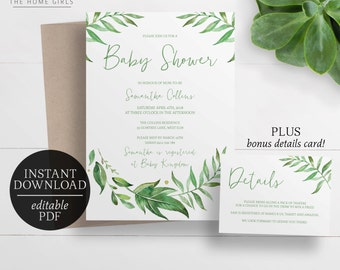 Printable Leafy Baby Shower Invitation | Editable Template | Greenery Wreath Baby Shower Invitation | Leaves | Watercolour | Bridal Shower
